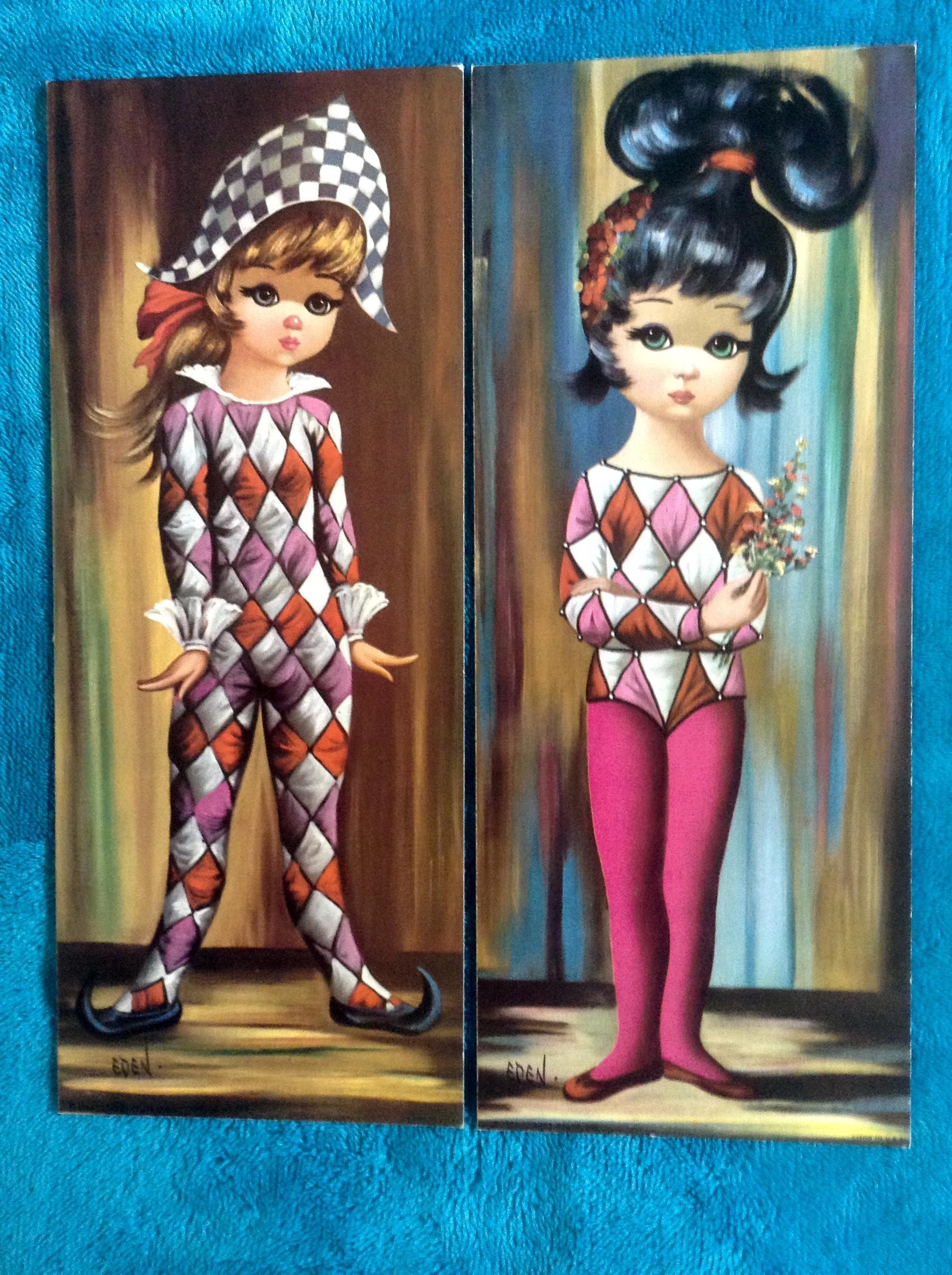 Eden Big Eye Harlequin Pierrette Girls 8 Vintage 15