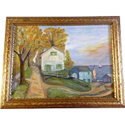 Johnson, Painting, Houses on a Lake With Sail Boats In The Fall, Acrylic on Canvas ...