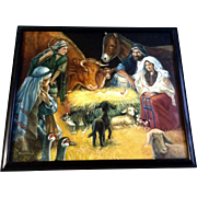 Kumjha, Painting, Jesus Birth Nativity Scene, Original Beautiful Christmas Oil on Canvas Signe