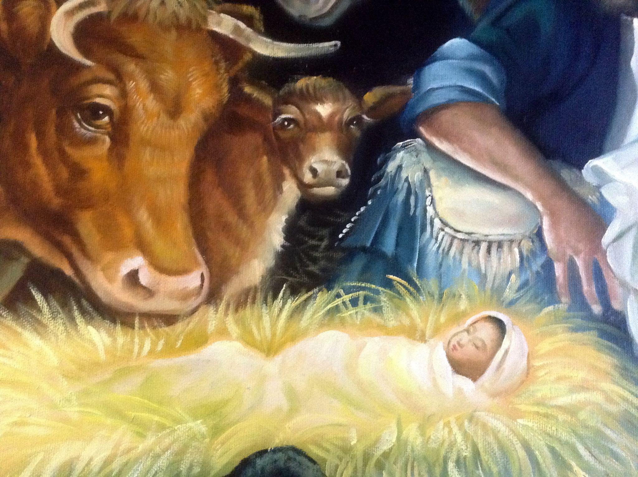 Kumjha Painting Jesus Birth Nativity Scene Original