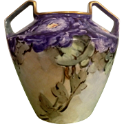 Royal Rudolstadt Vase Antique Pottery Beautiful Hand Painted Purple Floral Motif Prussia Two .