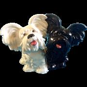 Goebel Figurine Dogs Scottish Skye Terrier Black & White  Vintage 1970's #30 505-08