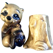 Salt & Pepper Shakers Raccoon and Tree Stump Adorable Mid-Century