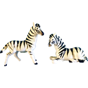 Bone China Miniature Zebra Animal Salt and Pepper Shakers Vintage