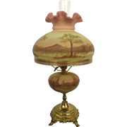 Fenton Burmese Student Lamp Hand Painted Signed by Artist Louise Piper #18 1973 Gorgeous Glass