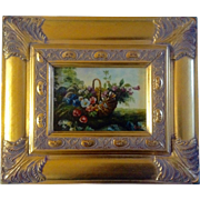 B.Ward, Painting, Wildflowers in a basket, Bright Gold Frame, Signed by Artist, Contemporary .
