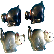 Salt & Pepper Cat Vintage Halloween Scaredy Cat Arched Backs Shakers Made in Japan 1950's S&