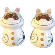 Salt & Pepper Shakers Cats With Smiling Cheshire Faces Fat Large Animal Figural's S&P Vintag