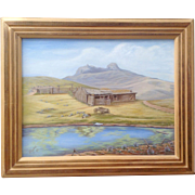 Old Log Cabin Ranch House Original Acrylic Painting on Board Signed by Artist Elizabeth 1975 .