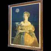 "Edward Eggleston, Glamour Girl ""Dixie"" Print Litho Art Deco 1929, Vintage Large Orig"
