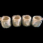 Quon Quon Japan Drinking Mugs Ram Pottery Ceramic Animal Set of 4 Vintage QQ
