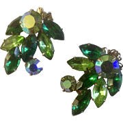 BEAU JEWELS  Clip on Earring Emerald Green Glass Rhinestone Borealis Colored Vintage BeauJewel