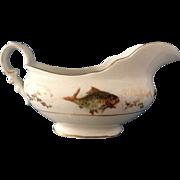 CPCo & Hobson Transferware Crown Gravy Boat Fish Pattern 1940's Vintage Fine China Pottery