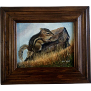 Jean Rene Oil Painting Chipmunk On Canvas 1980's Adorable Animal Picture