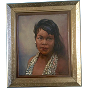 Polynesian Hawaiian Girl Portrait Oil Painting on Canvas Signed by Artist