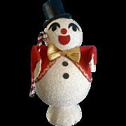 SOLD Snowman Flocked Christmas Japan Mid-Century Figurine
