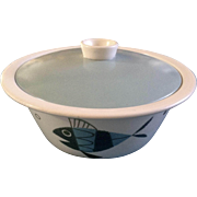 """Metlox Tropicana Fish 2 Qt Round Covered Casserole Dish 9 """" Extremely RARE Helen Mclntosh"""