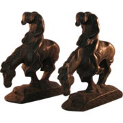 Bronze Book Ends End of the Trail American Indian Heavy Cast