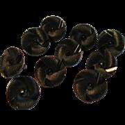 10 Victorian Jet Black Swirl Design Costume Charm Buttons