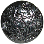 Vintage Bird in Tree Black Glass Molded Button w Self Shank