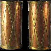 """Vintage Set of 2 Hammered Copper and Brass in Drum Design 7 1/4"""" Vessel ..."""