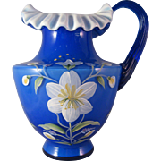 """Fenton Cobalt Blue White Overlay ruffle top Painted White Flower 7 1/4"""" Pitcher - Signed"""