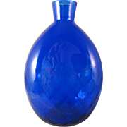Pairpoint Diamond Quilted Cobalt Blue Art Glass Vase Flask Signed Vase