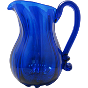 "SOLD Vintage Deep Cobalt Blue 6""  Pitcher Ewer Hand blown John Shelton"