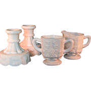 Westmoreland White Milk Glass Creamer, Sugar Bowl and  2 Candlesticks Grape Pattern