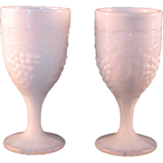 2 Rare Opalescent Milk glass Cordial Glasses Grapes Leaf design ribbed stem with imprint on ..