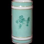 Rare H&Co L Haviland Limoges Porcelain Green w gold trim Paint Brush/Vase ...