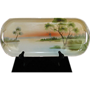 Long Rectangle Noritake Hand Painted w gold trim Windmill Lake Porcelain Celery dish