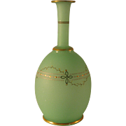 Bristol Glass Green Satin Bulbous Vase with Simple painted Design w Gold Ring Accents -  ...