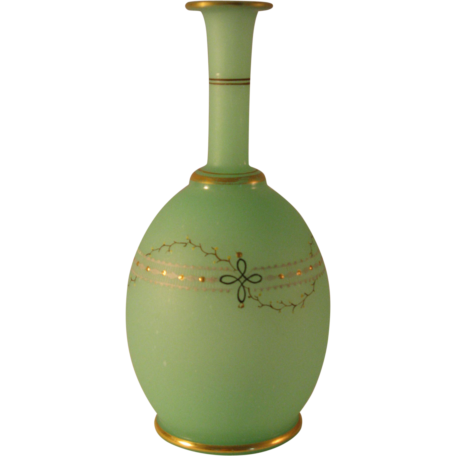 Bristol glass green satin bulbous vase with simple painted design w from the7 - Vase tube verre transparent ...