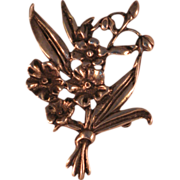 """Vintage Sterling Silver Bouquet of Spring Flowers Pin Brooch 2 3/4"""""""