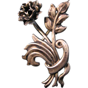 Vintage Lang Sterling Flower with Ribbon Brooch Pin