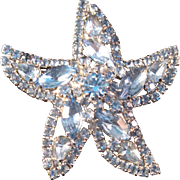 Vintage Weiss Blue Rhinestone Sea Star Starfish Brooch Silver Pin