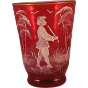 Vintage Ruby Red Cordial Glass adorned with Flute Player - Hand blown and painted