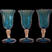 3 Carder Steuben 1692 Celeste Blue Cordial Glasses signed Steuben - Must see!