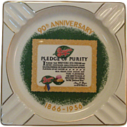 Rare Large Vintage 1956 Breyers Ice Cream 90th Anniversary Ashtray 23k Gold by Salem