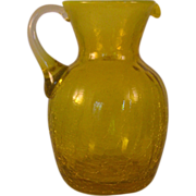 "Vintage Yellow Crackle Glass Pitcher w Opalescent Rim 5 1/2"" attached Handle cut Pontil"