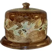 Antique Colorful Majolica Covered Cake Plate or Dish Vine and Floral Design Over Brown Basket