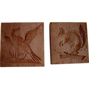 Two Antique Small Square Carved Wood Primitive Butter Prints Squirrel and Bird