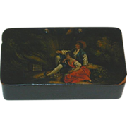 Antique German Paper Mache Rectangular Snuffbox or Snuff Box Hinged Lid with Hand Painted ...