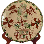 """2009 Redware 10 1/4"""" Plate Glazed With Sgraffito Tulips in Pot Breininger Pottery"""