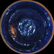 Rare 1938 Isaac Stahl Redware Small Bowl Cobalt Blue Glazed Powder Valley, Pennsylvania