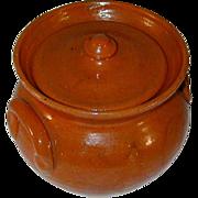 Old Jugtown Pottery Orange or Salmon Colored Glazed Redware Covered Jar North Carolina