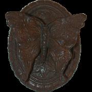 Old 1920s Figural Cast Iron Butterfly Doorknocker Marked VS 70135 Oval Backing