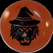 1995 Breininger Redware Pie Plate Glazed Sgraffito Decorated Black Halloween Scarecrow