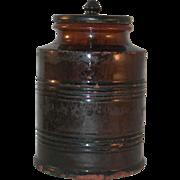 Antique Redware Manganese Glazed Southeastern Pennsylvania Large Jar Lid with Knob Like Finial